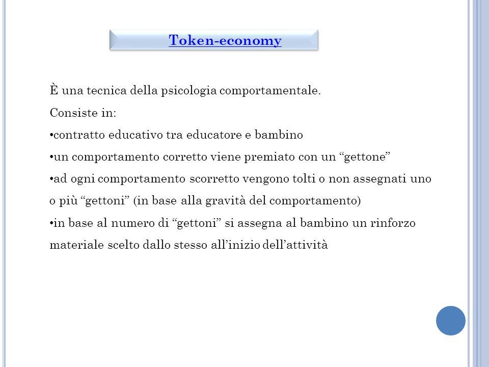 Token-economy È una tecnica della psicologia comportamentale.