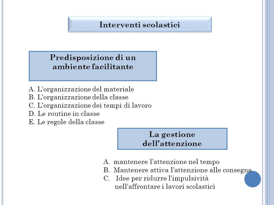 Predisposizione di un ambiente facilitante A.L'organizzazione del materiale B.