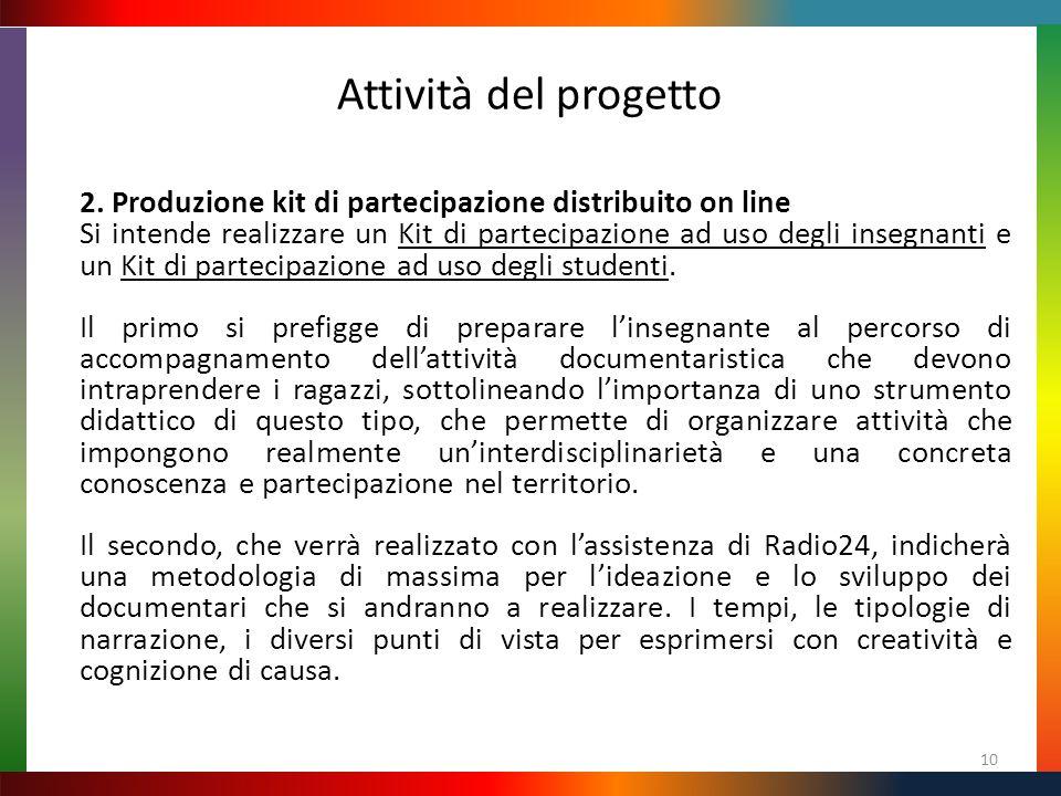 Attività del progetto 10 2. Produzione kit di partecipazione distribuito on line Si intende realizzare un Kit di partecipazione ad uso degli insegnant