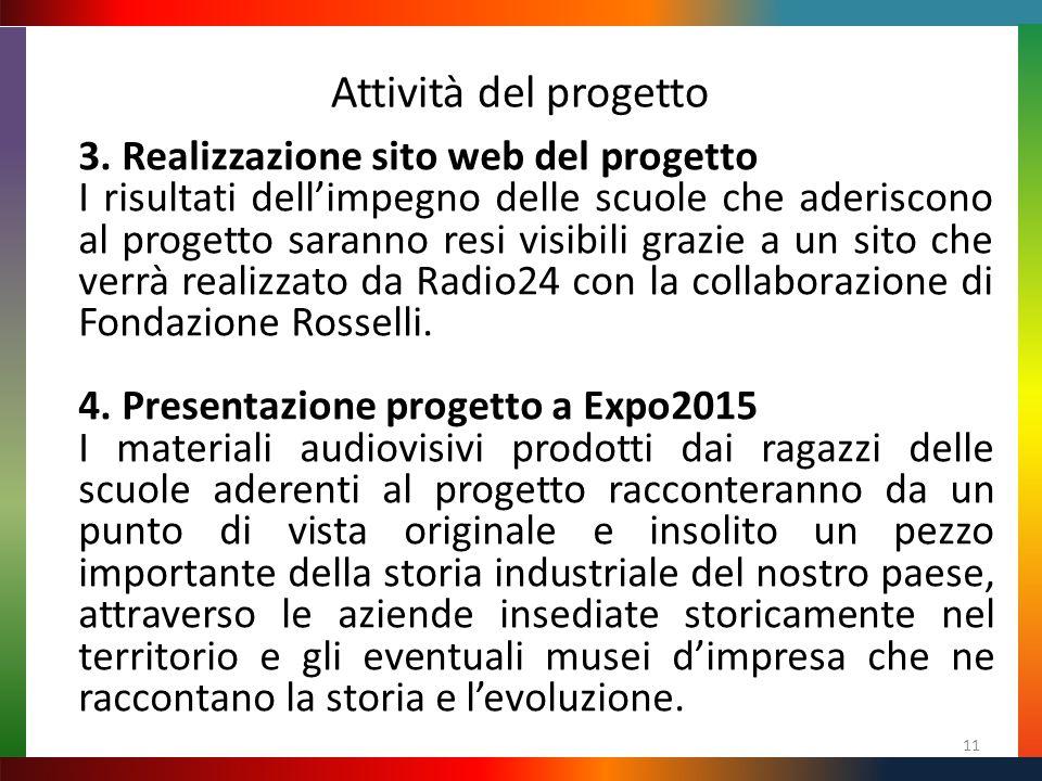Attività del progetto 11 3. Realizzazione sito web del progetto I risultati dell'impegno delle scuole che aderiscono al progetto saranno resi visibili