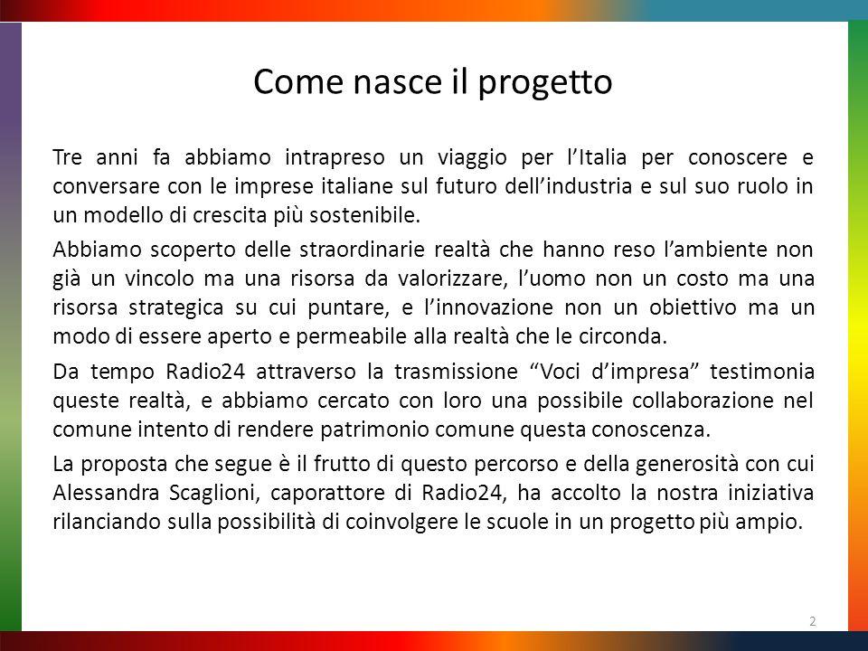 Come nasce il progetto Tre anni fa abbiamo intrapreso un viaggio per l'Italia per conoscere e conversare con le imprese italiane sul futuro dell'industria e sul suo ruolo in un modello di crescita più sostenibile.