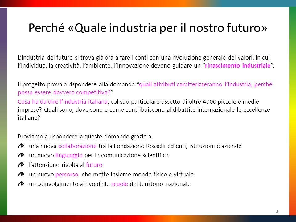Perché «Quale industria per il nostro futuro» L'industria del futuro si trova già ora a fare i conti con una rivoluzione generale dei valori, in cui l'individuo, la creatività, l'ambiente, l'innovazione devono guidare un rinascimento industriale .