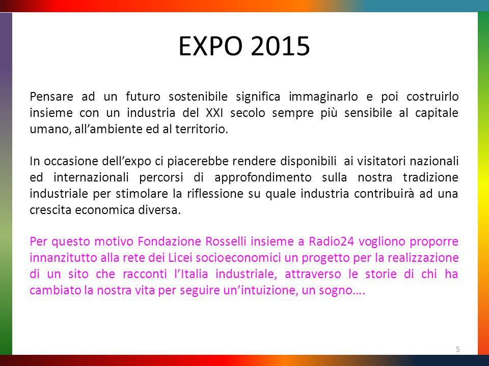EXPO 2015 Pensare ad un futuro sostenibile significa immaginarlo e poi costruirlo insieme con un industria del XXI secolo sempre più sensibile al capitale umano, all'ambiente ed al territorio.