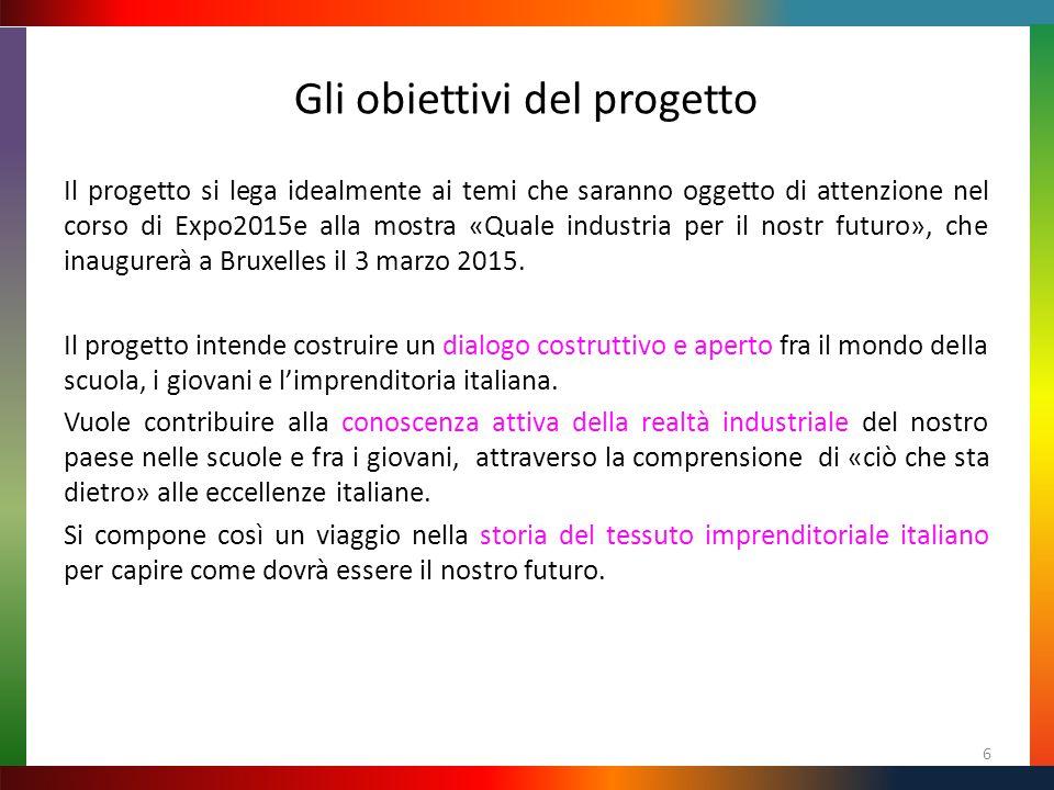 Gli obiettivi del progetto Il progetto si lega idealmente ai temi che saranno oggetto di attenzione nel corso di Expo2015e alla mostra «Quale industria per il nostr futuro», che inaugurerà a Bruxelles il 3 marzo 2015.