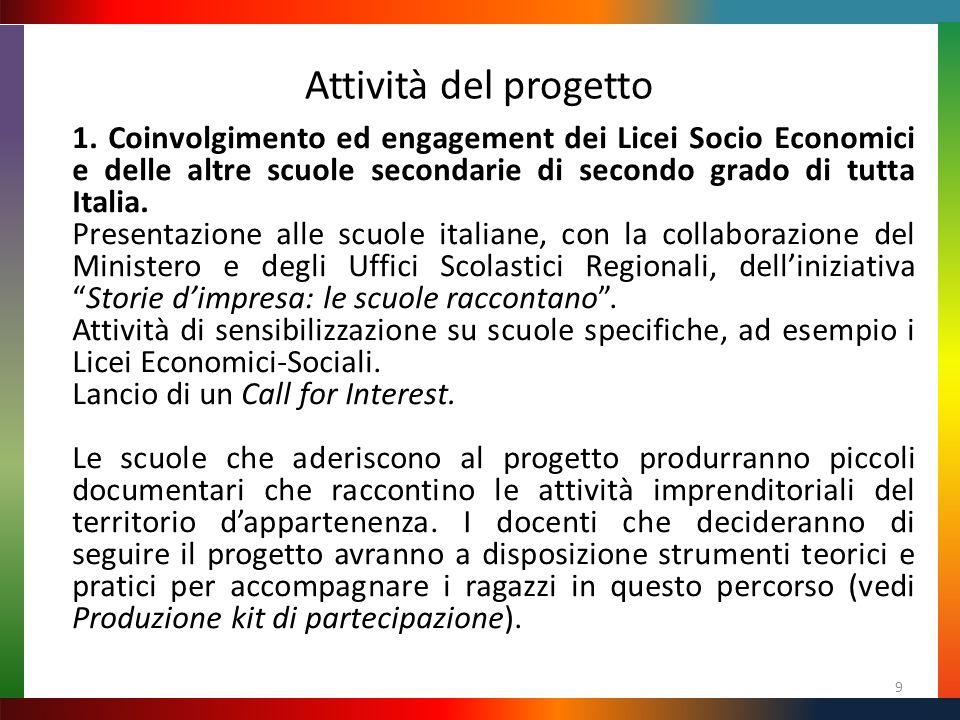 Attività del progetto 9 1. Coinvolgimento ed engagement dei Licei Socio Economici e delle altre scuole secondarie di secondo grado di tutta Italia. Pr