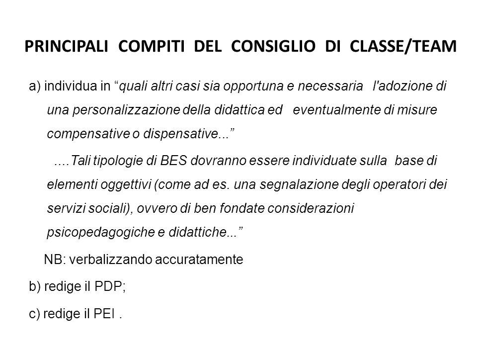 """PRINCIPALI COMPITI DEL CONSIGLIO DI CLASSE/TEAM a) individua in """"quali altri casi sia opportuna e necessaria l'adozione di una personalizzazione della"""