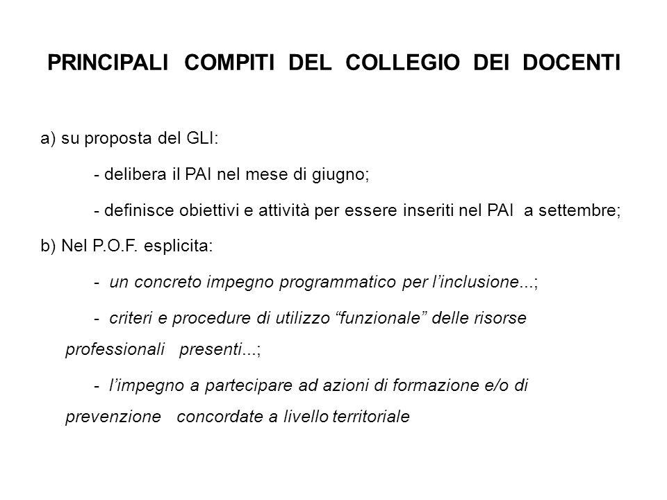 PRINCIPALI COMPITI DEL COLLEGIO DEI DOCENTI a) su proposta del GLI: - delibera il PAI nel mese di giugno; - definisce obiettivi e attività per essere