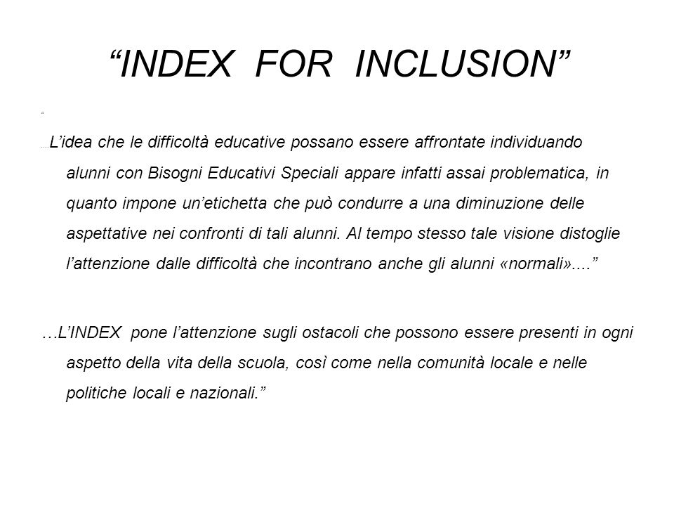 INDEX FOR INCLUSION ....
