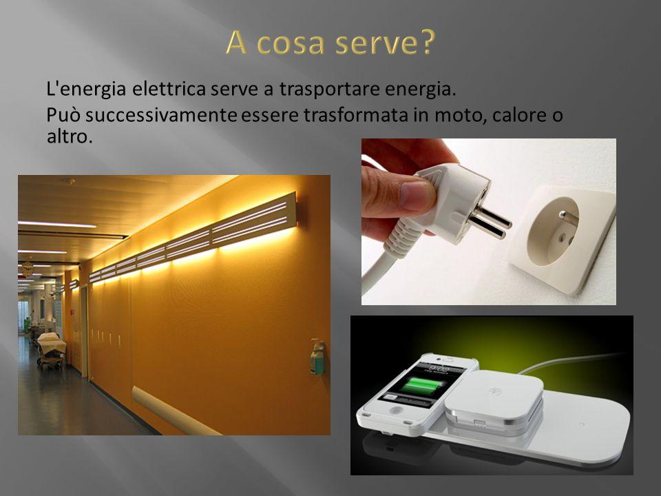 L'energia elettrica serve a trasportare energia. Può successivamente essere trasformata in moto, calore o altro.