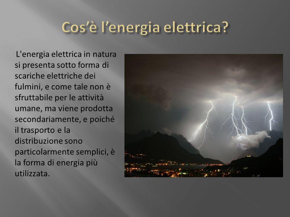 L'energia elettrica in natura si presenta sotto forma di scariche elettriche dei fulmini, e come tale non è sfruttabile per le attività umane, ma vien