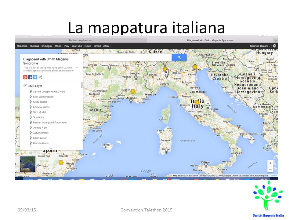 La mappatura italiana 09/03/15Convention Telethon 2015