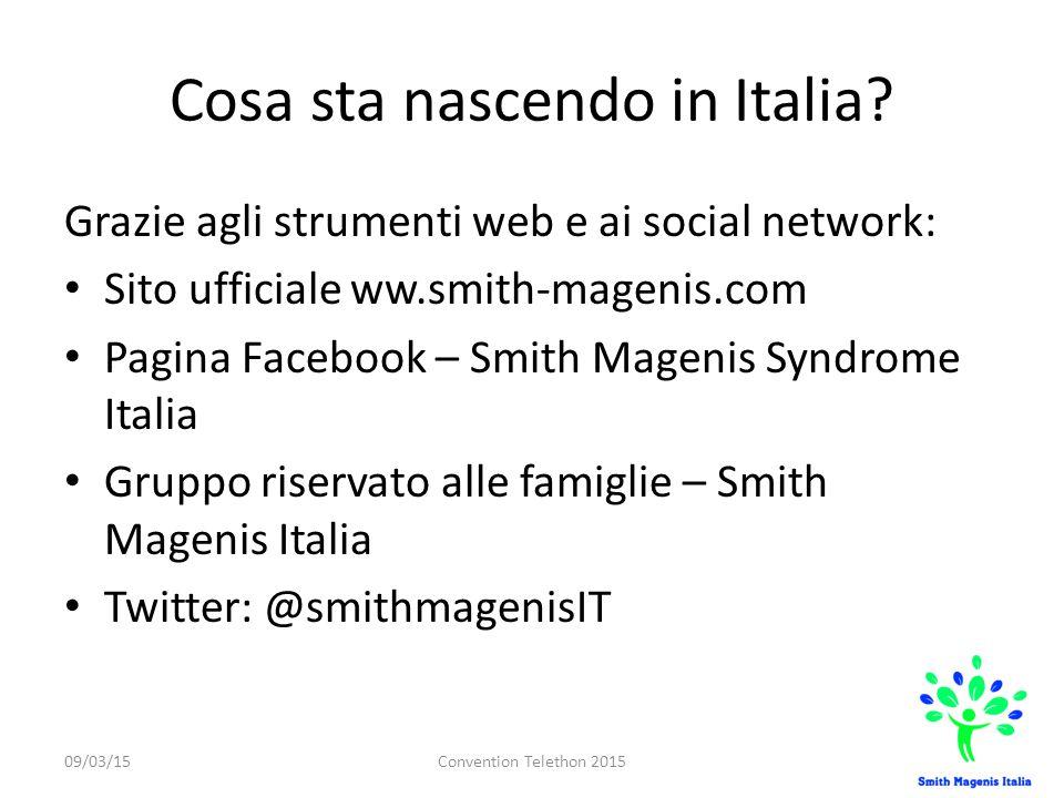 Cosa sta nascendo in Italia? Grazie agli strumenti web e ai social network: Sito ufficiale ww.smith-magenis.com Pagina Facebook – Smith Magenis Syndro