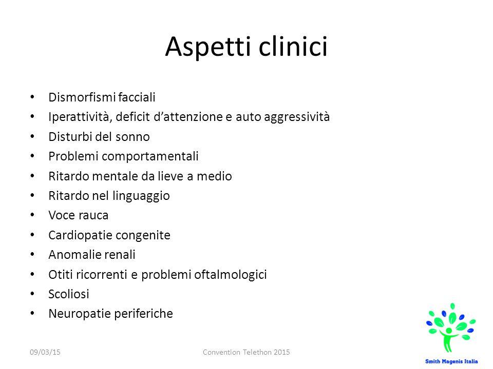 Aspetti clinici Dismorfismi facciali Iperattività, deficit d'attenzione e auto aggressività Disturbi del sonno Problemi comportamentali Ritardo mental