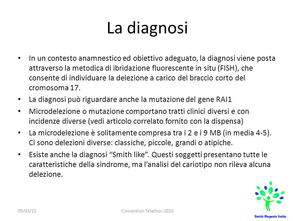 La diagnosi In un contesto anamnestico ed obiettivo adeguato, la diagnosi viene posta attraverso la metodica di ibridazione fluorescente in situ (FISH