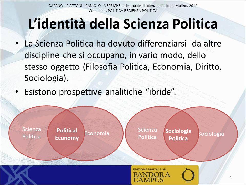 L'identità della Scienza Politica La Scienza Politica ha dovuto differenziarsi da altre discipline che si occupano, in vario modo, dello stesso oggett