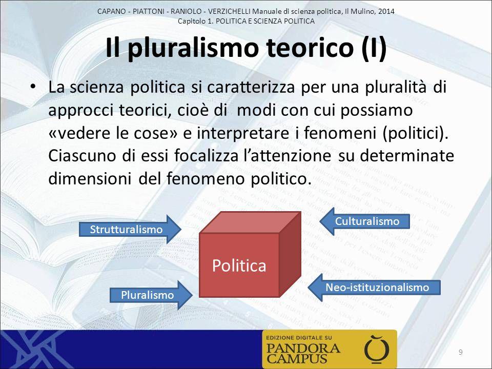 CAPANO - PIATTONI - RANIOLO - VERZICHELLI Manuale di scienza politica, Il Mulino, 2014 Capitolo 1. POLITICA E SCIENZA POLITICA Il pluralismo teorico (
