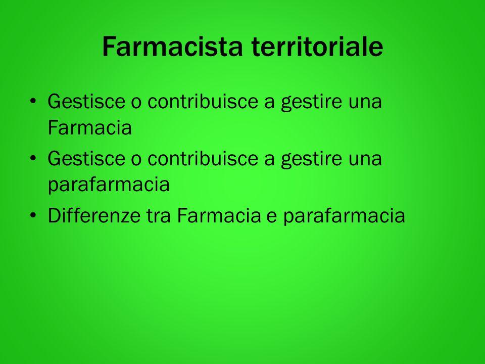 Farmacista territoriale Gestisce o contribuisce a gestire una Farmacia Gestisce o contribuisce a gestire una parafarmacia Differenze tra Farmacia e pa