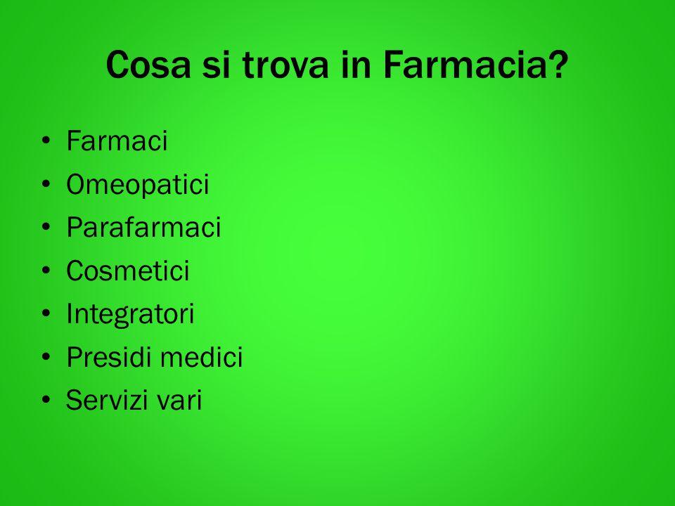 Cosa si trova in Farmacia? Farmaci Omeopatici Parafarmaci Cosmetici Integratori Presidi medici Servizi vari
