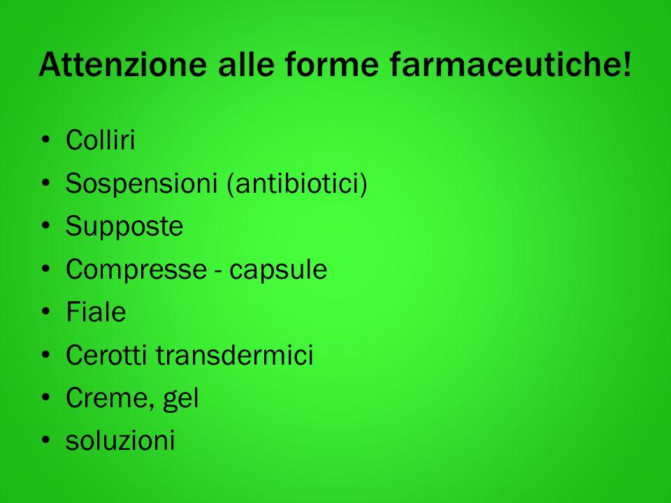 Attenzione alle forme farmaceutiche! Colliri Sospensioni (antibiotici) Supposte Compresse - capsule Fiale Cerotti transdermici Creme, gel soluzioni