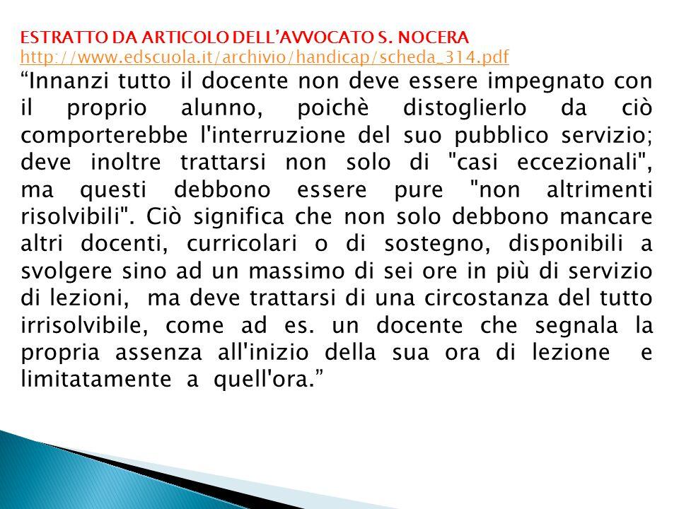 ESTRATTO DA ARTICOLO DELL'AVVOCATO S.