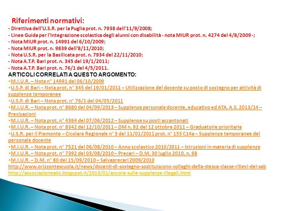 Riferimenti normativi: - Direttiva dell U.S.R.per la Puglia prot.