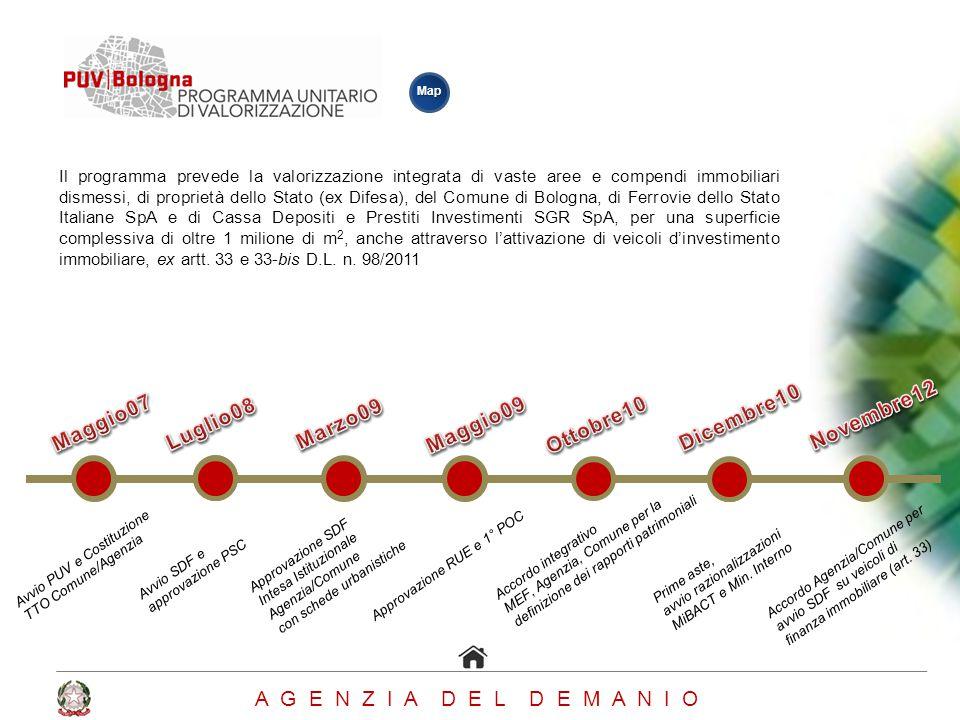 Il programma prevede la valorizzazione integrata di vaste aree e compendi immobiliari dismessi, di proprietà dello Stato (ex Difesa), del Comune di Bo