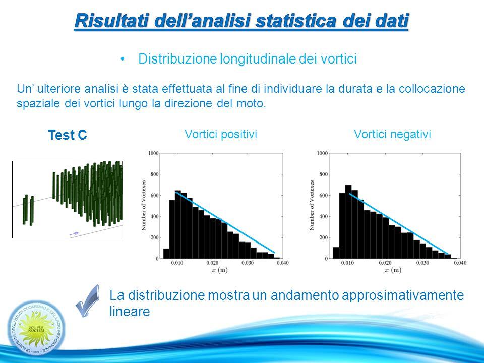 Distribuzione longitudinale dei vortici La distribuzione mostra un andamento approsimativamente lineare Un' ulteriore analisi è stata effettuata al fine di individuare la durata e la collocazione spaziale dei vortici lungo la direzione del moto.