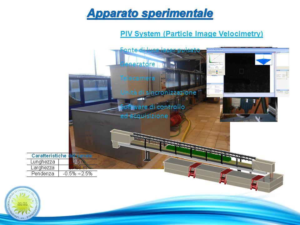 PIV System (Particle Image Velocimetry) Fonte di luce laser pulsato Generatore Telecamera Unità di sincronizzazione Software di controllo ed acquisizione