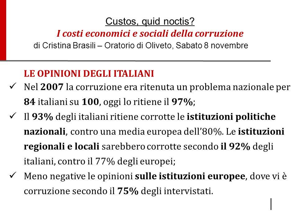 LE OPINIONI DEGLI ITALIANI Nel 2007 la corruzione era ritenuta un problema nazionale per 84 italiani su 100, oggi lo ritiene il 97%; Il 93% degli ital