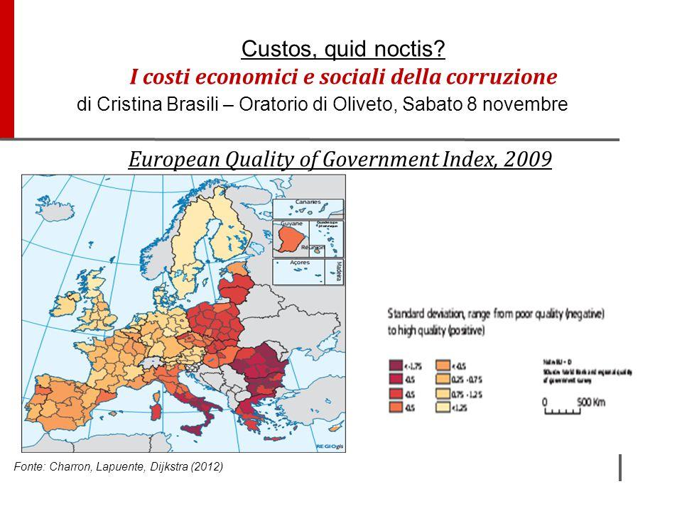European Quality of Government Index, 2009 Fonte: Charron, Lapuente, Dijkstra (2012) Custos, quid noctis? I costi economici e sociali della corruzione