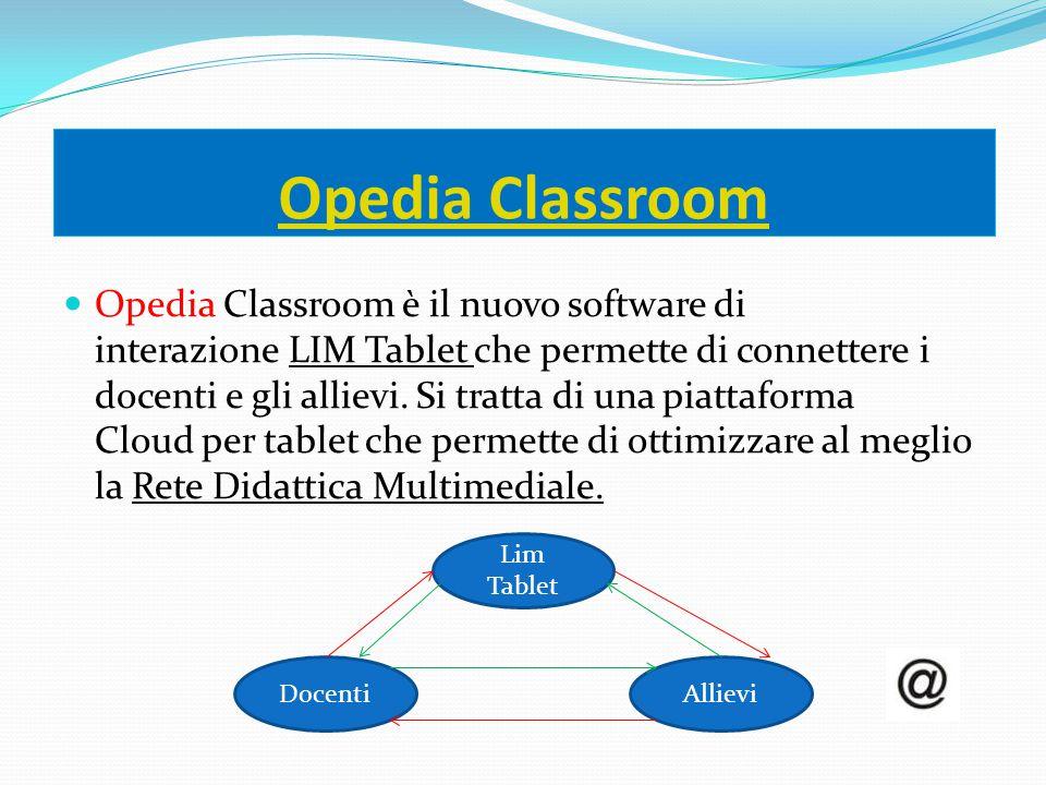 Opedia Classroom Opedia Classroom è il nuovo software di interazione LIM Tablet che permette di connettere i docenti e gli allievi. Si tratta di una p