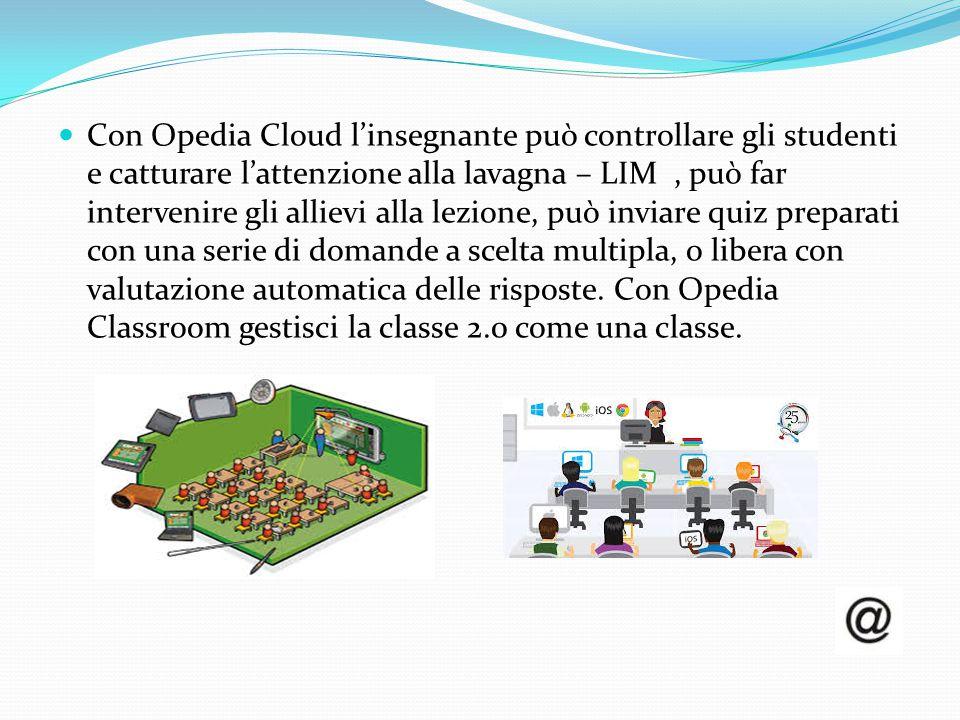 Con Opedia Cloud l'insegnante può controllare gli studenti e catturare l'attenzione alla lavagna – LIM, può far intervenire gli allievi alla lezione,