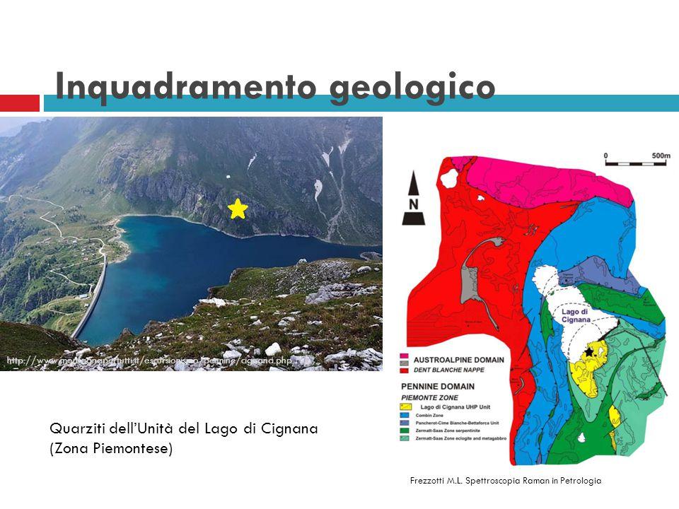 Quarziti dell'Unità del Lago di Cignana (Zona Piemontese) http://www.montagnapertutti.it/escursionismo/pennine/cignana.php Frezzotti M.L. Spettroscopi