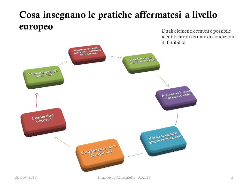 Lo sviluppo metodologico dei modelli di intervento nel campo dell' age management Quali elementi comuni è possibile osservare nelle pratiche di successo 26 nov.