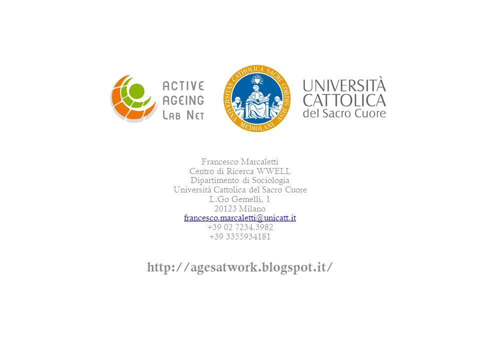 Francesco Marcaletti Centro di Ricerca WWELL Dipartimento di Sociologia Università Cattolica del Sacro Cuore L.Go Gemelli, 1 20123 Milano francesco.ma