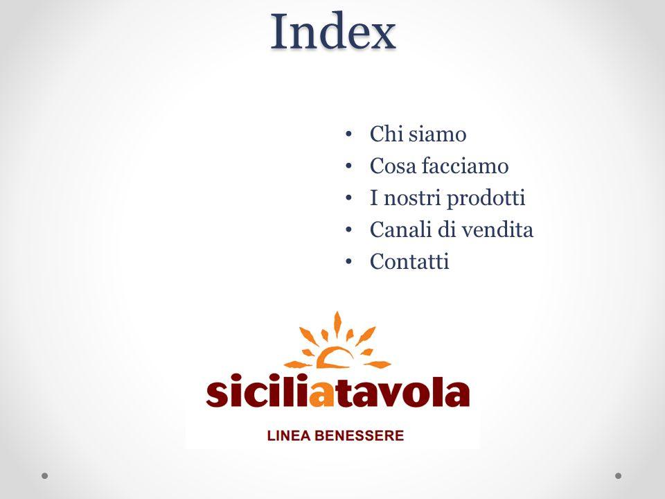 Index Chi siamo Cosa facciamo I nostri prodotti Canali di vendita Contatti