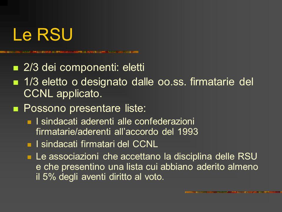 Le RSU 2/3 dei componenti: eletti 1/3 eletto o designato dalle oo.ss. firmatarie del CCNL applicato. Possono presentare liste: I sindacati aderenti al
