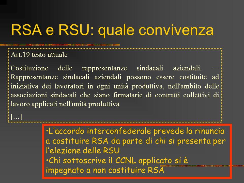 RSA e RSU: quale convivenza Art.19 testo attuale Costituzione delle rappresentanze sindacali aziendali. — Rappresentanze sindacali aziendali possono e