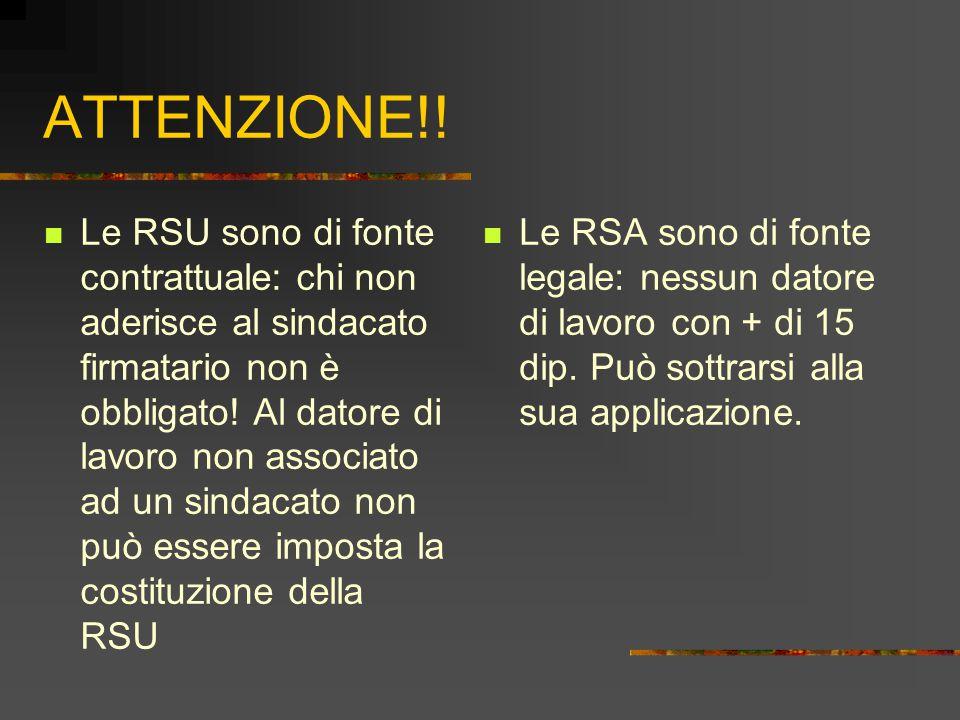ATTENZIONE!! Le RSU sono di fonte contrattuale: chi non aderisce al sindacato firmatario non è obbligato! Al datore di lavoro non associato ad un sind