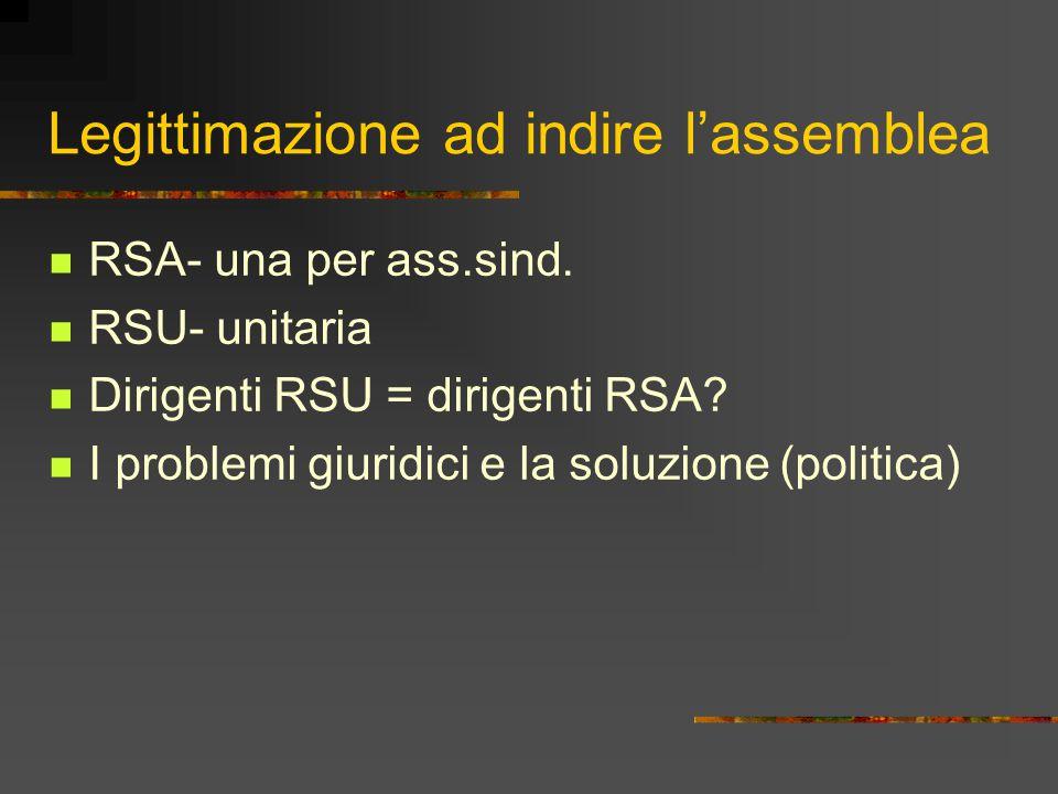 Legittimazione ad indire l'assemblea RSA- una per ass.sind. RSU- unitaria Dirigenti RSU = dirigenti RSA? I problemi giuridici e la soluzione (politica