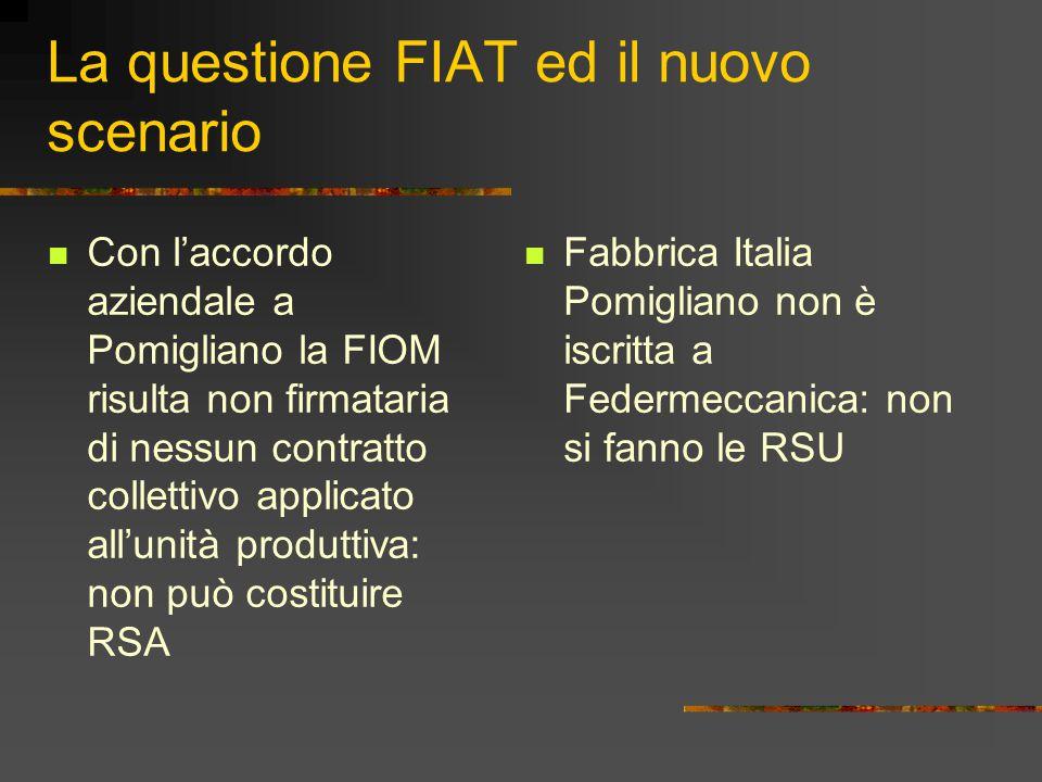 La questione FIAT ed il nuovo scenario Con l'accordo aziendale a Pomigliano la FIOM risulta non firmataria di nessun contratto collettivo applicato al