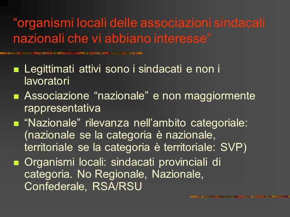 """""""organismi locali delle associazioni sindacali nazionali che vi abbiano interesse"""" Legittimati attivi sono i sindacati e non i lavoratori Associazione"""