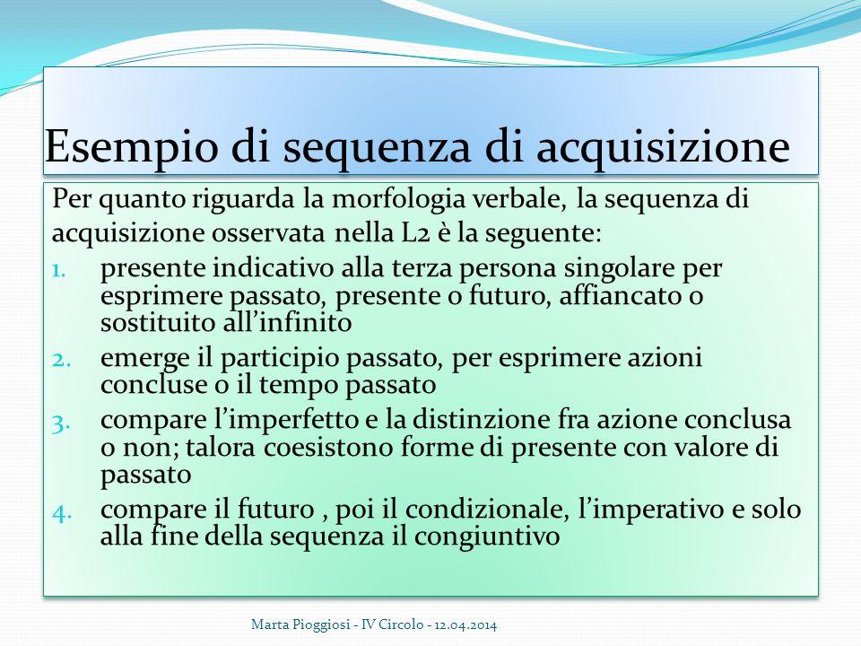 Esempio di sequenza di acquisizione Per quanto riguarda la morfologia verbale, la sequenza di acquisizione osservata nella L2 è la seguente: 1. presen