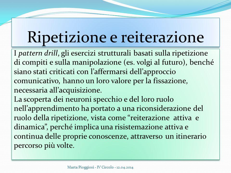 Ripetizione e reiterazione I pattern drill, gli esercizi strutturali basati sulla ripetizione di compiti e sulla manipolazione (es. volgi al futuro),