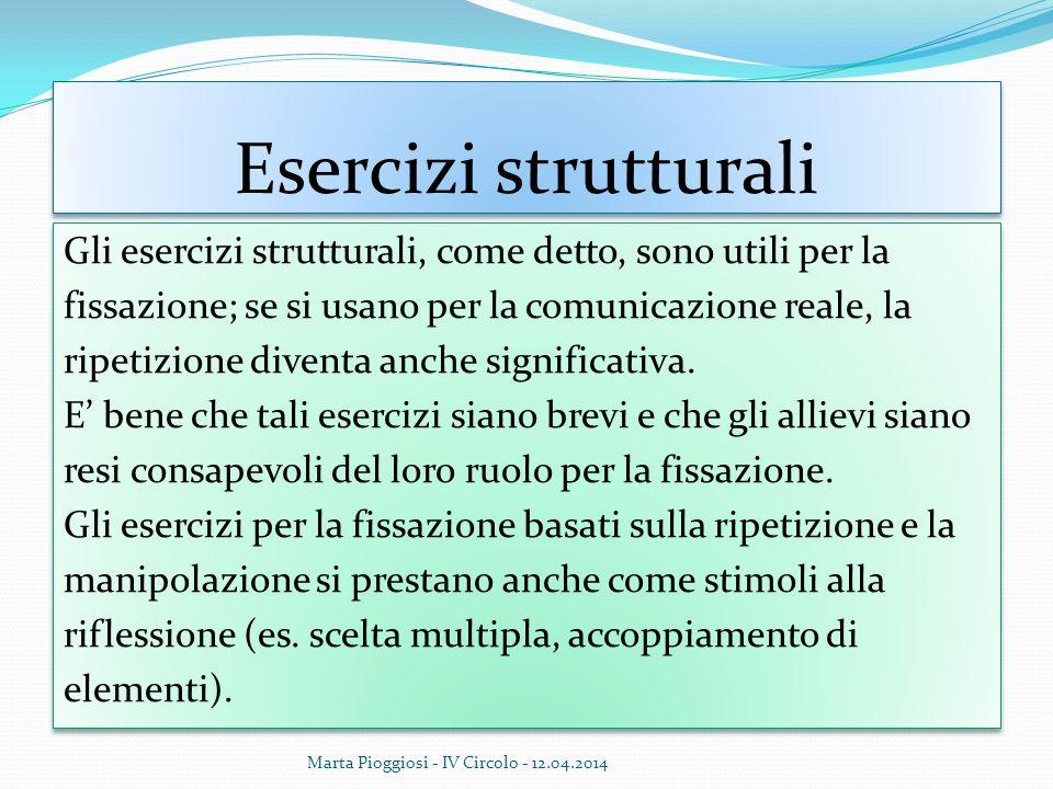 Esercizi strutturali Gli esercizi strutturali, come detto, sono utili per la fissazione; se si usano per la comunicazione reale, la ripetizione divent