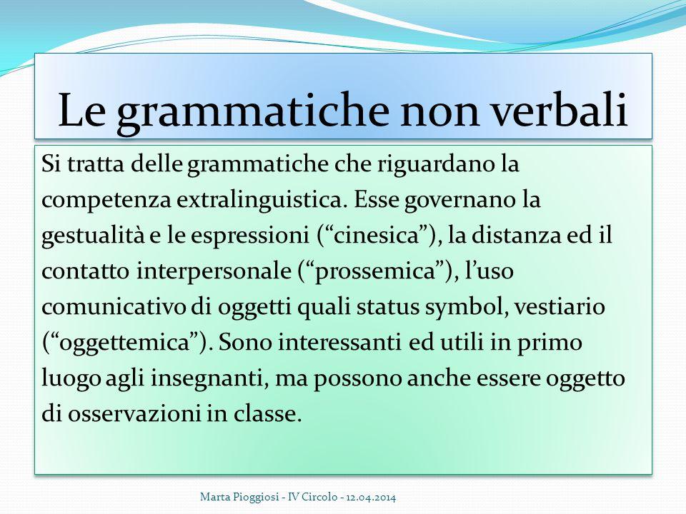 """Le grammatiche non verbali Si tratta delle grammatiche che riguardano la competenza extralinguistica. Esse governano la gestualità e le espressioni ("""""""