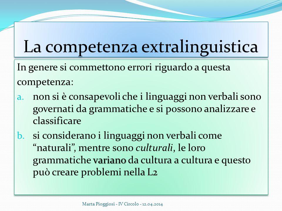 La competenza extralinguistica In genere si commettono errori riguardo a questa competenza: a. non si è consapevoli che i linguaggi non verbali sono g