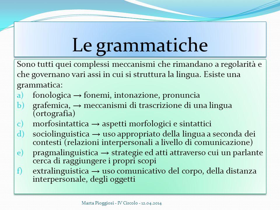 Le grammatiche Sono tutti quei complessi meccanismi che rimandano a regolarità e che governano vari assi in cui si struttura la lingua. Esiste una gra