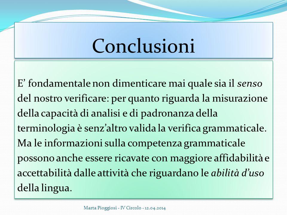 Conclusioni E' fondamentale non dimenticare mai quale sia il senso del nostro verificare: per quanto riguarda la misurazione della capacità di analisi