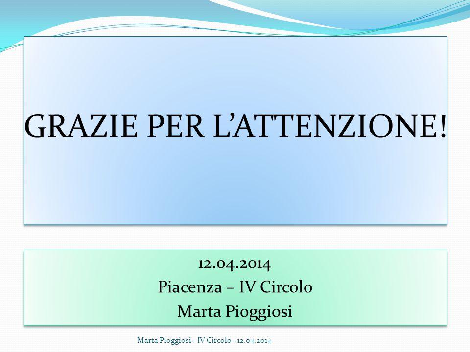 GRAZIE PER L'ATTENZIONE! 12.04.2014 Piacenza – IV Circolo Marta Pioggiosi 12.04.2014 Piacenza – IV Circolo Marta Pioggiosi Marta Pioggiosi - IV Circol